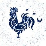 Nowy rok błyskotliwości błękitny kogut Zdjęcie Royalty Free