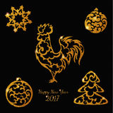 Nowy Rok błyskotliwości elementu koguta złociste zabawki Obraz Royalty Free