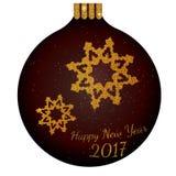 Nowy rok błyskotliwości złocista piłka z płatkami śniegu Zdjęcia Stock