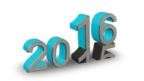 Nowy Rok 2016 - barwione 3D liczby na białym tle Zdjęcia Stock