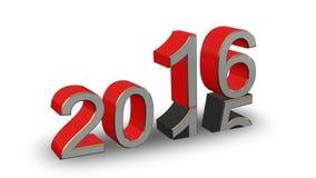 Nowy Rok 2016 - barwione 3D liczby na białym tle Zdjęcie Stock