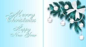 nowy rok, Boże Narodzenia Błękitna choinki gałąź z zabawkami z cieniem Narożnikowy rysunek Powitanie inskrypcja ilustracja wektor