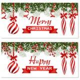 Nowy Rok boże narodzenia Dwa ulotka, wizytówki, karty Pasiaste piłki i świeczki Zieleni gałąź jedlinowi drzewa w śniegu ilustracja wektor