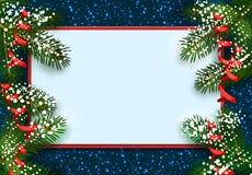 nowy rok, Boże Narodzenia POCZTÓWKA, karta Zielona świerczyna rozgałęzia się w śniegu od dwa stron Miejsce dla reklamować i ilustracja wektor