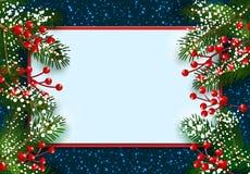 nowy rok, Boże Narodzenia POCZTÓWKA, karta Zielona świerczyna rozgałęzia się w śniegu z czerwonymi jagodami na obich stronach Mie royalty ilustracja