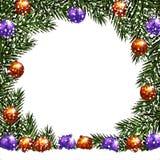 nowy rok, Boże Narodzenia Pocztówka z obrazkiem Zieleni gałąź jedlinowi drzewa w okręgu z piłkami w śniegu ilustracji
