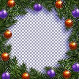 nowy rok, Boże Narodzenia Pocztówka z obrazkiem Zieleni gałąź jedlinowi drzewa w okręgu z piłkami i cieniu na a ilustracji
