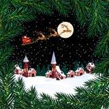 nowy rok, Boże Narodzenia Pocztówka z wzorem choinki Święty Mikołaj, księżyc, urząd miasta, domy Zieleni gałąź ilustracja wektor