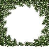 nowy rok, Boże Narodzenia pocztówka Zieleni gałąź jedlinowi drzewa w okręgu w śniegu Miejsce dla reklamować, zawiadomienia ilustracja wektor