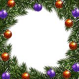 Nowy Rok boże narodzenia Pocztówkowe piłki z wzorem Zieleni gałąź jedlinowi drzewa w okręgu ilustracja ilustracja wektor