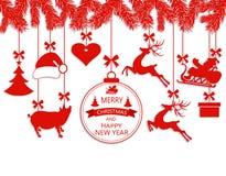 Nowy Rok boże narodzenia Różnorodne dekoracje wiesza na jedlinowych gałąź, Święty Mikołaj kapeluszu, rogaczach, sercu, prezencie, ilustracja wektor