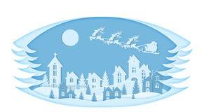 nowy rok, Boże Narodzenia Stylizowana struktura Wizerunek Święty Mikołaj i rogacz Śnieg, księżyc, drzewa, domy, kościół, boże nar royalty ilustracja