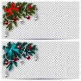 nowy rok, Boże Narodzenia Zieleni i błękita gałąź choinka z zabawkami z cieniem Narożnikowy rysunek wizytówka logo firmy wektor i ilustracja wektor