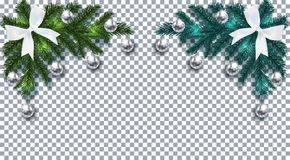 nowy rok, Boże Narodzenia Zielona i błękitna choinki gałąź z zabawkami z cieniem Narożnikowy rysunek Biały łęk, srebne piłki ilustracji