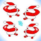 Nowy rok Bożenarodzeniowy Święty Mikołaj iść Niesie prezenty Szczęśliwy wektor Projekt ikona Obraz Royalty Free