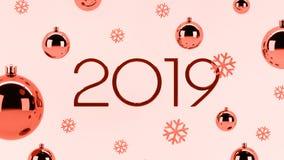 Nowy rok, Bożenarodzeniowy 3d tło z 2019 lub płatek śniegu barwiący w modnym Żywym Koralowym brzmieniu zdjęcie royalty free