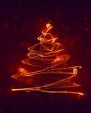 Nowy rok bożych narodzeń jedlinowy drzewo z płomieniem i bokeh Obrazy Royalty Free