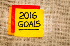 2016 nowy rok cele na kleistej notatce Fotografia Stock