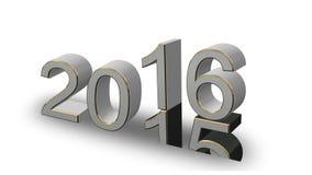 Nowy Rok 2016 - coloured 3D liczby na białym tle ilustracja wektor