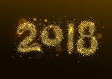 2018 nowy rok confetti salutu złota liczba Obraz Royalty Free