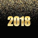 2018 nowy rok Czarny tło z złocistymi błyskotliwość confetti Obraz Royalty Free