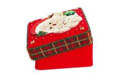 nowy rok, Czerwony pudełko dekorujący z koralikami Na szkatule Święty Mikołaj fotografia stock