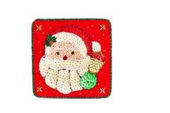 nowy rok, Czerwony pudełko dekorujący z koralikami Na szkatule Święty Mikołaj zdjęcia royalty free