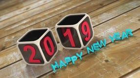Nowy Rok 2019 - 3D Odpłacający się wizerunek Zdjęcia Stock