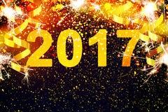 Nowy rok dekoracja, zbliżenie na złotych tło Zdjęcie Stock