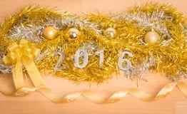 Nowy rok dekoracja, zbliżenie na 2016 Zdjęcie Stock