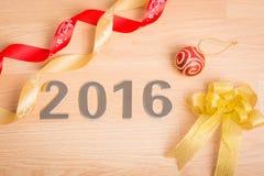 Nowy rok dekoracja, zbliżenie na 2016 Obrazy Royalty Free
