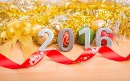 Nowy rok dekoracja, zbliżenie na 2016 Zdjęcie Royalty Free