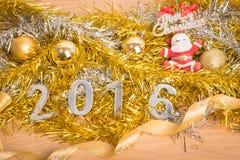Nowy rok dekoracja, zbliżenie na 2016 Fotografia Stock