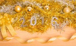 Nowy rok dekoracja, zbliżenie na 2016 Zdjęcia Royalty Free