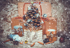 Nowy rok dekoracje Choinka, cynamon Obrazy Royalty Free
