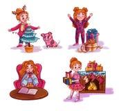 Nowy rok dekoruje choinki dziewczyna, otwiera prezenty, pije kawę, stawia prezenty blisko graby ilustracji