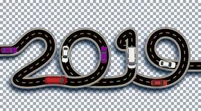 2019 nowy rok Droga stylizuje jako inskrypcja Ciężarówki i samochody Odizolowywający na przejrzystym tle z cieniem ilustracji