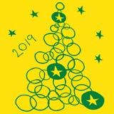 2019 nowy rok drzewo Obrazy Royalty Free