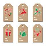 nowy rok etykietki Kolekcja papier etykietki z nowego roku ` s symbolami Wektorowa ilustracja w angielskim Obrazy Royalty Free