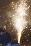 2015 nowy rok fajerwerku fontanna przy Wenceslas kwadratem, Praga Obrazy Stock