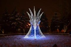 Nowy rok fontanna w parku zdjęcia stock