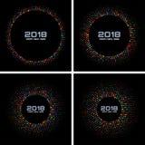 Nowy Rok 2018 Grępluje Ustalonego tło Jaskrawa Kolorowa dyskotek świateł Halftone okręgu rama odizolowywająca na czarnym tle Obraz Stock