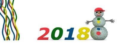 Nowy Rok i bałwan na białym tle Zdjęcia Stock