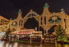Nowy Rok i boże narodzenia zaświeca dekorację miasto Rosja, Obrazy Royalty Free