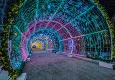 Nowy Rok i boże narodzenia zaświeca dekorację miasto Rosja, Obraz Stock