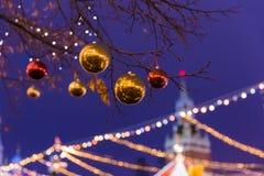 Nowy Rok i boże narodzenia instalacyjni na placu czerwonym w Moskwa Russ Fotografia Royalty Free
