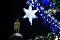 Nowy rok i boże narodzenie dekoraci Pushkin kwadrat Fotografia Royalty Free