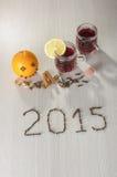 Nowy Rok 2015 i gorący zimy wino Obrazy Stock