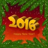 Nowy rok 2016 i jedlinowego drzewa rama royalty ilustracja