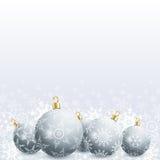 Nowy Rok i kartka bożonarodzeniowa z bożymi narodzeniami piłka i płatek śniegu Zdjęcie Royalty Free